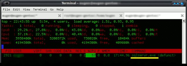 Screen capture of sqlservr.exe process