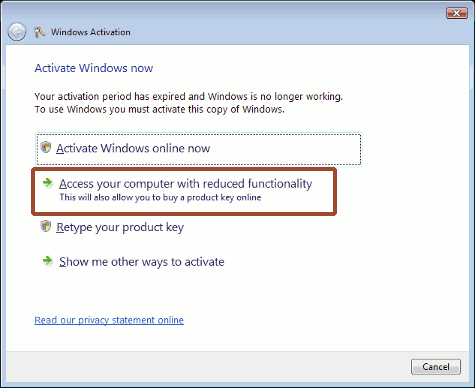 Windows Activation - choose reduced functionality