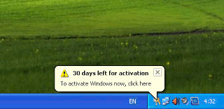 Windows activation reminder - 30 days left